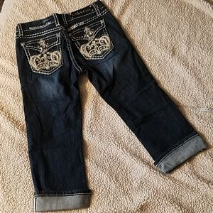 LA idol USA Rhinestone Distressed Capri Jeans Sz 5